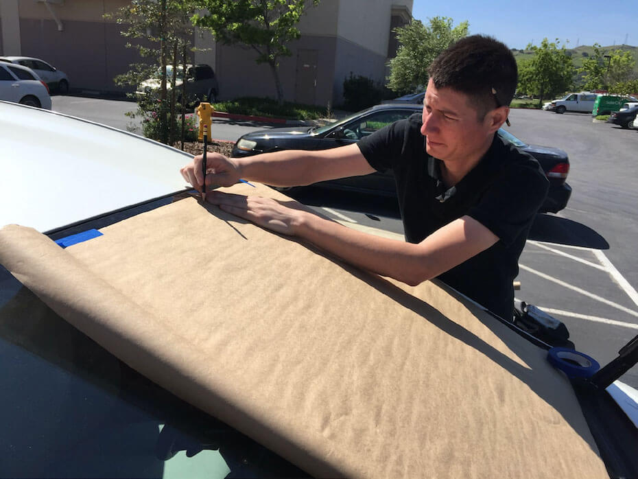 Patterning our custom-made windshield sun shades for every model car.