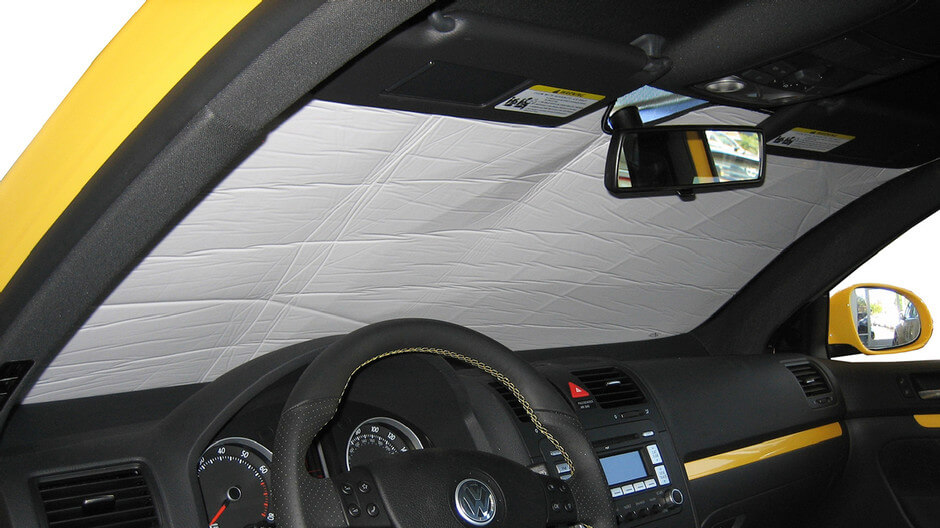 Our Silver Series windshield sun shade. These car window shades are silver on the outside and white on the inside.