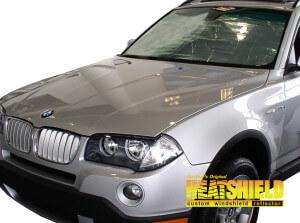 Heatshield Windshield Sun Shade for 2004-2010 BMW X3 (exterior view)