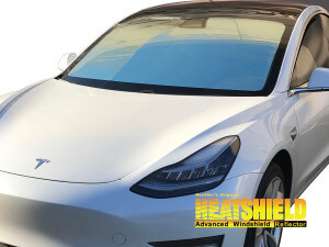 Windshield Sun Shade for 2018, 2019 Tesla Model 3 (exterior view)
