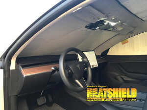 Windshield Sun Shade for 2019 Tesla Model 3 (interior view)